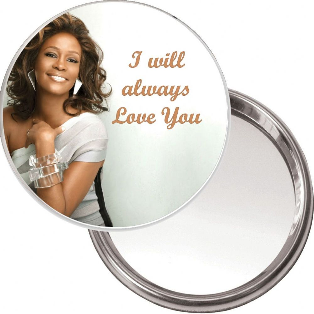Compact Makeup Button Mirror With Whitney Houston Image I